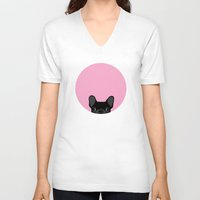 french bulldog V-neck T-shirts featuring French Bulldog by Anne Was Here