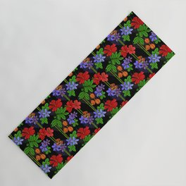 Jamaican Flowers and Fruits Tropical Pattern Yoga Mat