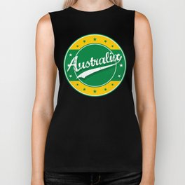 Australia, circle, green yellow Biker Tank