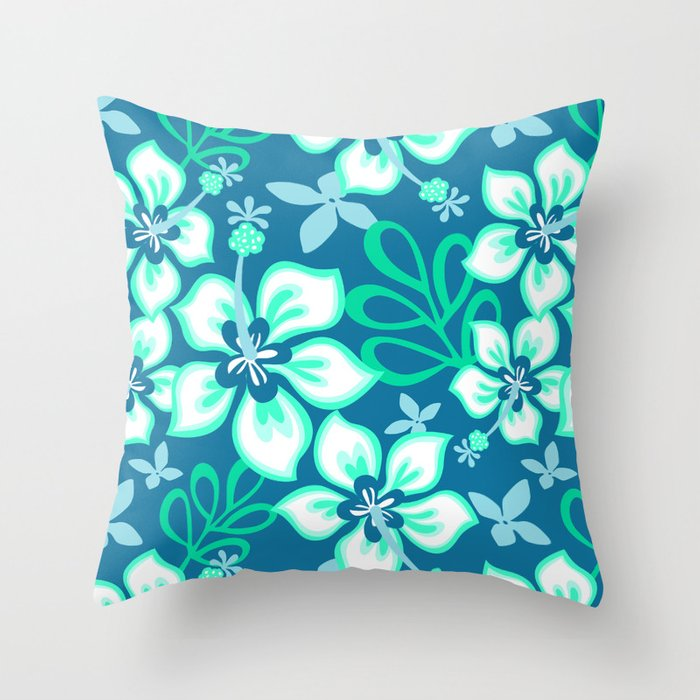 Aqua and White Hawaiian Hibiscus Flower Bloom Pattern on Blue Throw Pillow
