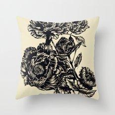 Peonies, black & white Throw Pillow
