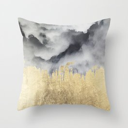 Watercolor black white faux gold abstract clouds Throw Pillow