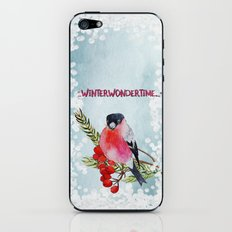 Winter Wondertime - Merry christmas- Little finch on branch-covered with snow iPhone & iPod Skin