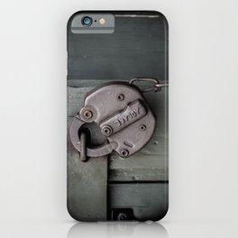 Rusty Adlake Padlock and Chain on Green Wooden Door Rust  iPhone Case