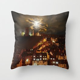 Whitby By Moonlight  Throw Pillow