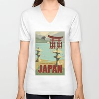 travel poster V-neck T-shirts featuring Kaiju Travel Poster by Duke Dastardly
