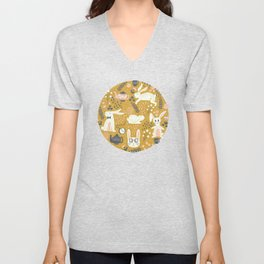 Bunnies + Teapots in Gold Unisex V-Neck