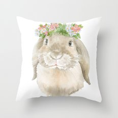 Lop Rabbit Floral Wreath Watercolor Painting Throw Pillow