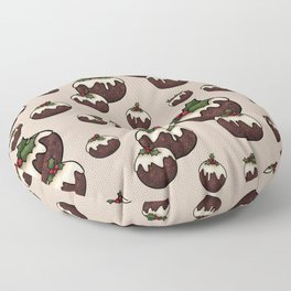 Christmas Pudding Feast with Holly and Berries, Cream Floor Pillow