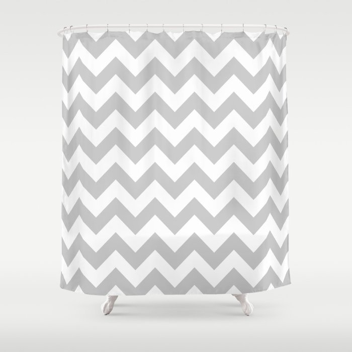 Silver Chevron Shower Curtain By Newwave