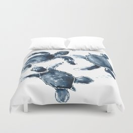 Turtle Swimming Sea Turtles indigo blue turtle art Duvet Cover