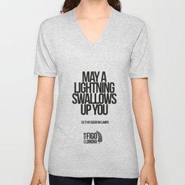 CU TI VO SUCARE NU LAMPO Unisex V-Neck