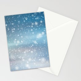 Snow Bokeh Blue Pattern Winter Snowing Abstract Stationery Cards