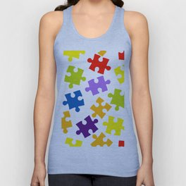 Seamless pattern with color puzzles Unisex Tank Top