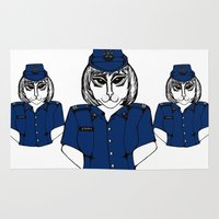 police Area & Throw Rugs featuring Police Kitty by Sofy Rahman