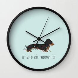 CHRISTMAS DACHSHUND BLACK&TAN Wall Clock