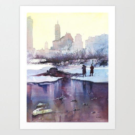 New York - Promenade hivernale Art Print