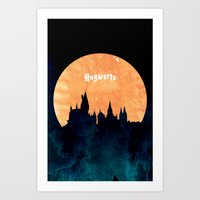 hogwarts Art Prints featuring Hogwarts by IA Apparel
