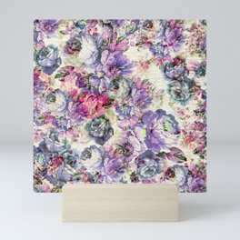 Vintage bohemian rustic pink lavender floral Mini Art Print