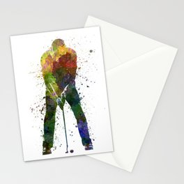 man golfer putting silhouette Stationery Cards