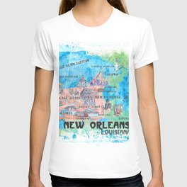 New Orleans Louisiana Illustrated Map with Main Roads Landmarks and Highlights T-shirt
