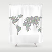 map of the world Shower Curtains featuring World map by David Zydd