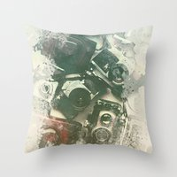cameras Throw Pillows featuring Old Cameras by Nechifor Ionut