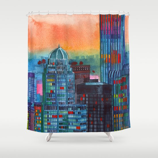 New York buildings vol3 Shower Curtain