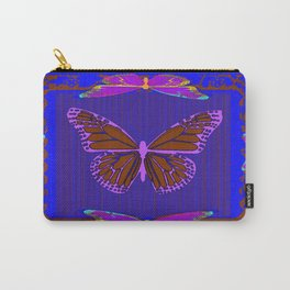Purple Chocolate Lavender Blue Butterfly Night Abstract Carry-All Pouch