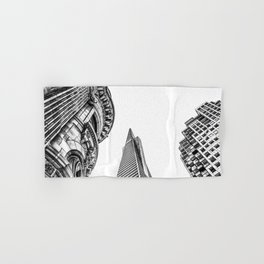pyramid building and modern building and vintage style building at San Francisco, USA in black and w Hand & Bath Towel