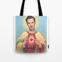 benedict cumberbatch Tote Bags featuring Benedict Cumberbatch by Michelle Wenz