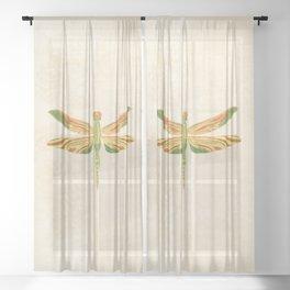 Antique Art Nouveau Dragonfly Sheer Curtain