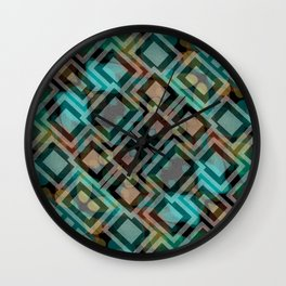 Black and White Squares Pattern 05 Wall Clock