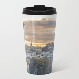 Edinburgh city and castle from Calton hill and Stewart monument Metal Travel Mug