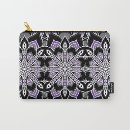 Mandala: Black White Purple FLower Carry-All Pouch
