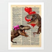 Prehistoric Love on dictionary background Art Print