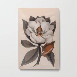 Vintage Magnolia Blossom Botanical Floral Print Metal Print