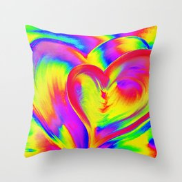 Double Heart beat Throw Pillow