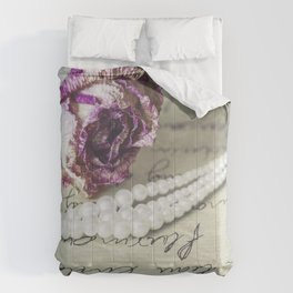 love letter with pearls and rose Comforters