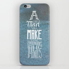 A Wise Man - White on Tarnished Metal Green iPhone Skin