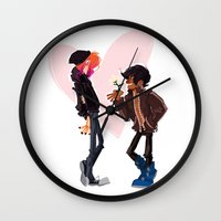 punk rock Wall Clocks featuring Punk Rock Dating by schmemy