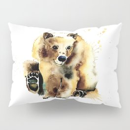 Baby Brown Bear Watercolor Painting by Lisa Whitehouse Pillow Sham