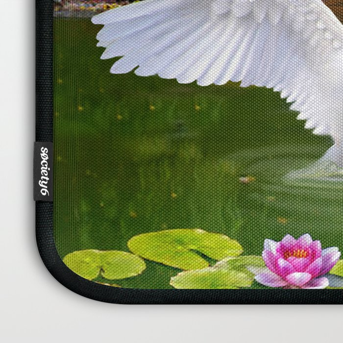 Swans and Baby Cygnets in an Oriental Landscape Laptop Sleeve