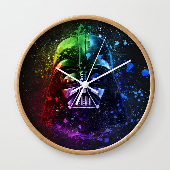 Darth Vader Helmet Splash Painting Wall Clock By Cudge Art