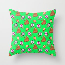 funny baby llamas, sweet vintage retro lollipops candy cute Christmas pattern Throw Pillow