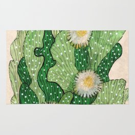 Blooming cactus, white & green, floral art Rug