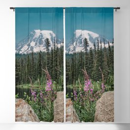 Mount Rainier Wildflower Adventure V - Pacific Northwest Mountain Forest Wanderlust Blackout Curtain