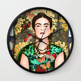Frida Kahlo and flying butterflies Wall Clock