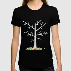 Graphic Tree  LARGE Womens Fitted Tee Black