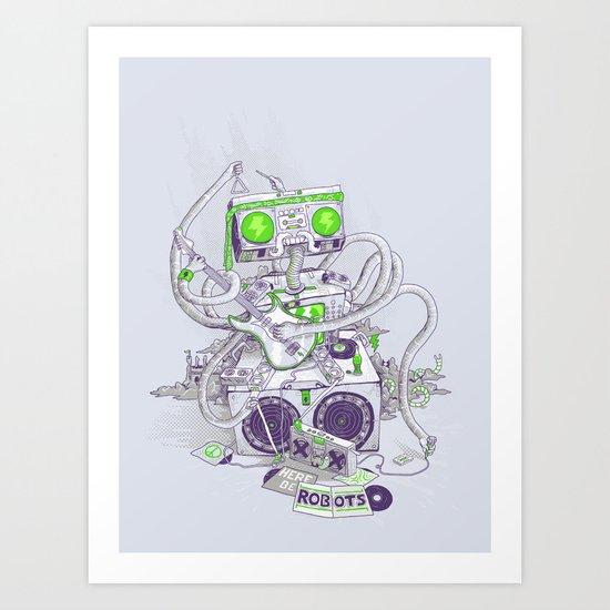 Hippy robot Art Print